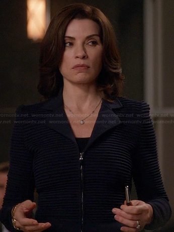 Alicia's navy ribbed jacket on The Good Wife