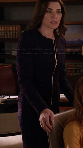 Alicia's purple patterned zip front jacket and matching pants on The Good Wife