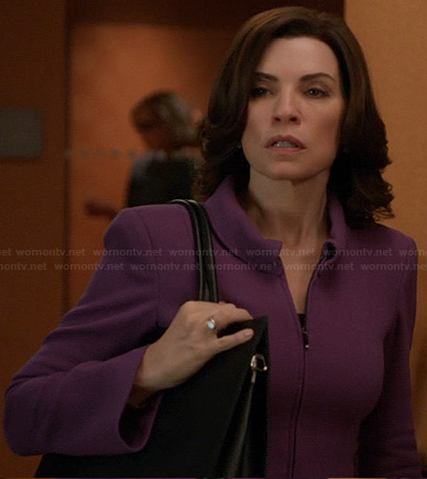Alicia's purple zip front front jacket on The Good Wife