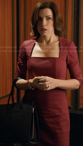 Alicia's red square neckline dress on The Good Wife