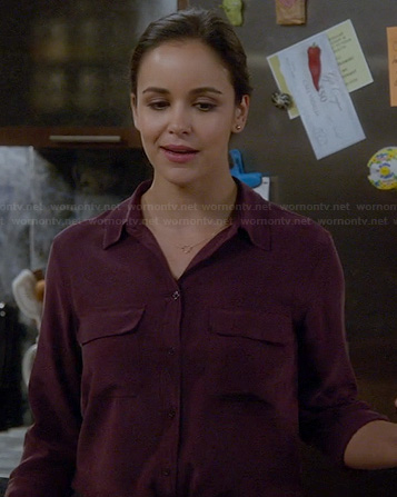 Amy's burgundy button front shirt on Brooklyn Nine Nine