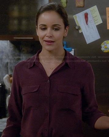 Amy's burgundy button front shirt on Brooklyn Nine-Nine