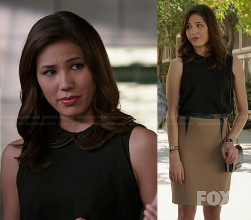 Angela's black peter pan collar top on Bones