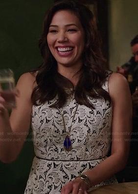 Angela's white lace peplum top on Bones