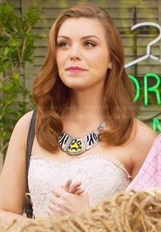 AnnaBeth's strapless dress and animal patterned bib necklace on Hart of Dixie