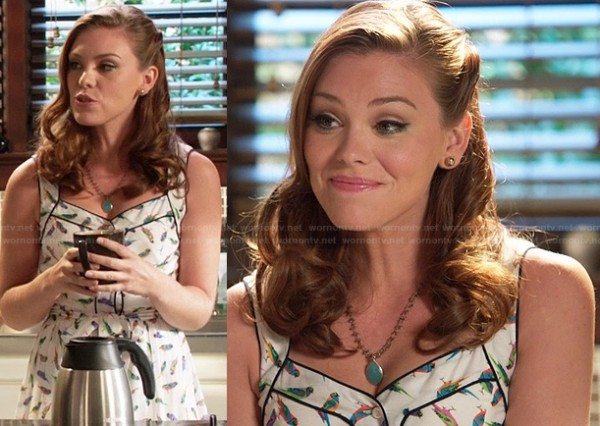 AnnaBeth's bird print dress on Hart of Dixie