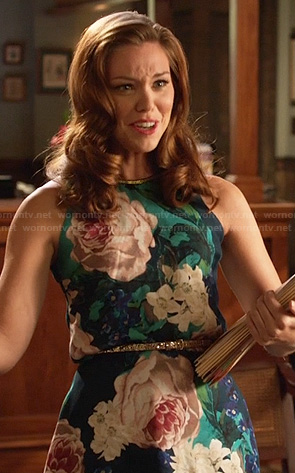 AnnaBeth's teal blue floral print dress on Hart of Dixie
