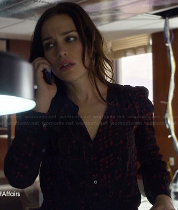 Annie's black and red check print button front shirt on Covert Affairs