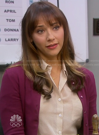 Ann's white pin dot shirt on Parks and Rec