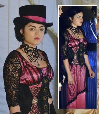 Lucy Hale's pink halloween costume on PLL 2013