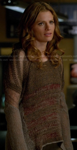 Beckett's brown sheer striped sweater on Castle
