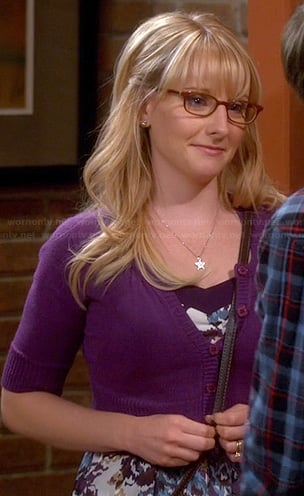 Bernadette's purple and blue floral dress on The Big Bang Theory