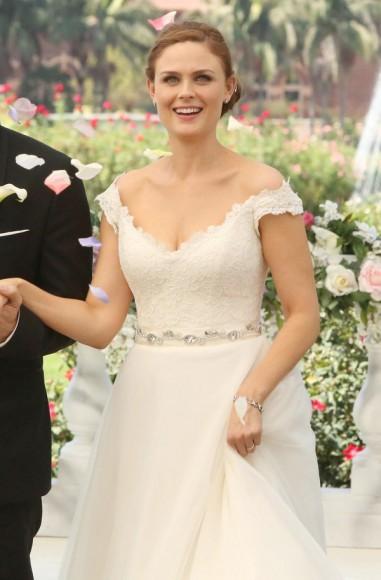 Emily Deschanel's wedding dress on Bones