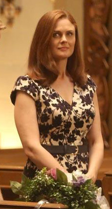 Bones's black and white floral velvet rehearsal dress