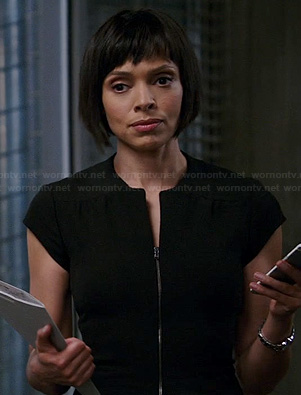 Camille's black zip front dress on Bones