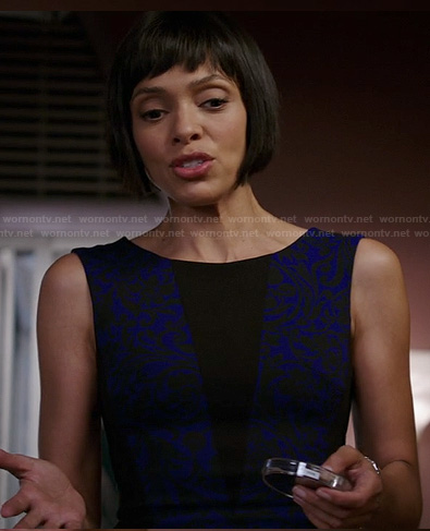 Camille's blue and black patterned dress with triangle inset on Bones