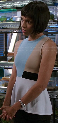 Camille's blue colorblocked peplum top on Bones