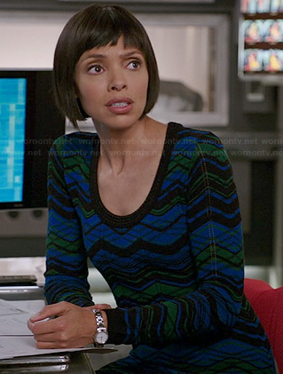 Camille's blue and green sweater dress on Bones
