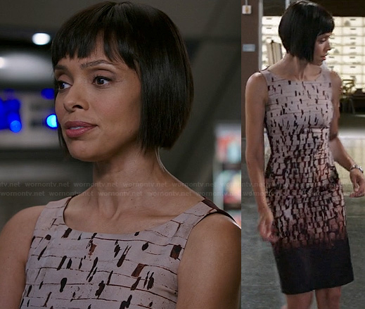 Camille's grunge paint splatter dress on Bones