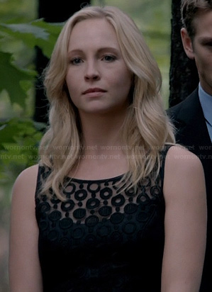 Caroline's black sheer polka dot dress at the funeral on The Vampire Diaries
