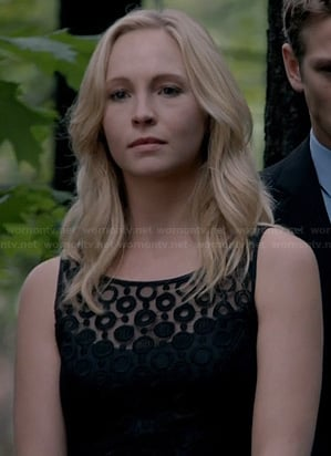 Caroline's black mesh polka dot dress on The Vampire Diaries