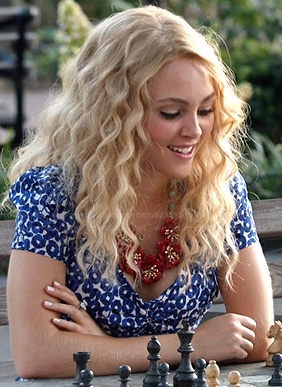 Carrie's blue and white floral print dress on The Carrie Diaries