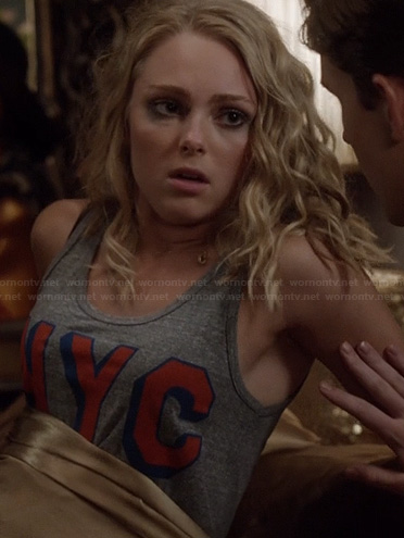 Carrie's grey 'NYC' tank on The Carrie Diaries