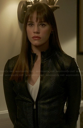 Charlotte's black mesh leather jacket on Revenge