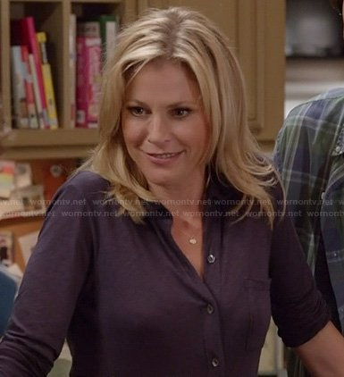 Claire's purple button front shirt on Modern Family