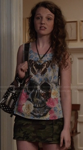 Dorrit's skull and butterfly tank top on The Carrie Diaries