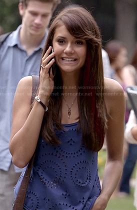 Elena's blue eyelet cutout tank top on The Vampire Diaries