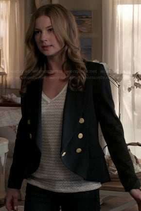 Emily's black blazer with gold buttons on Revenge