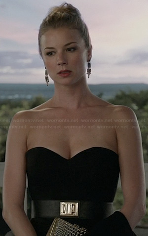 Emily's black strapless jumpsuit and turnlock belt on Revenge