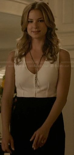 Emily's white v-neck two-tone dress on Revenge