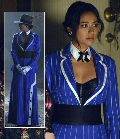 Emily's blue pinstripe suit costume on PLL 2013