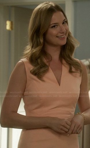 Emily's peach orange v-neck dress on Revenge
