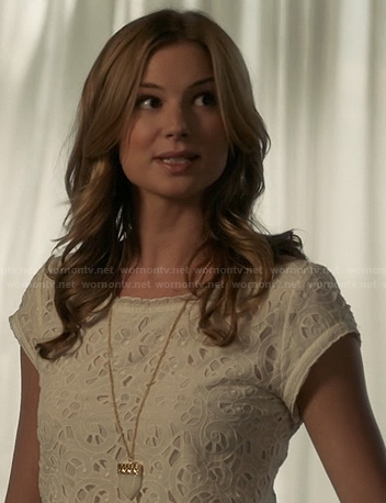 Emily's white eyelet top on Revenge