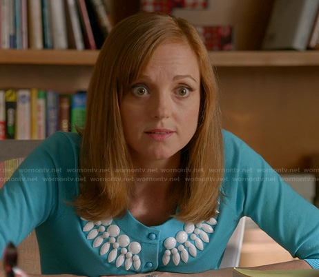 Emma's turquoise blue beaded sweater on Glee