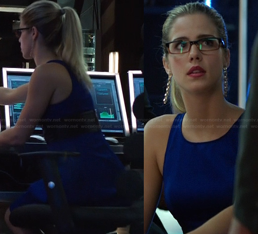 Felicity's cobalt blue dress with black leather waist on Arrow