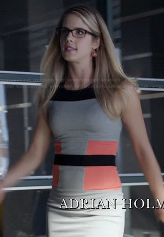 Felicity's grey, black and orange colorblock dress on Arrow