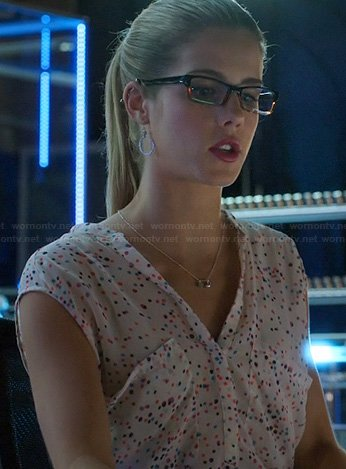 Felicity's white top with multi-colored dots on Arrow