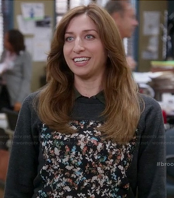 Gina's grey floral panel sweater on Brooklyn Nine-Nine