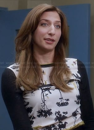 Gina's black and white horse and cart and trees print sweater on Brooklyn Nine-Nine