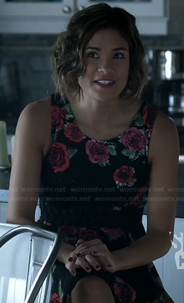 Heather's black rose print dress on Beauty and the Beast