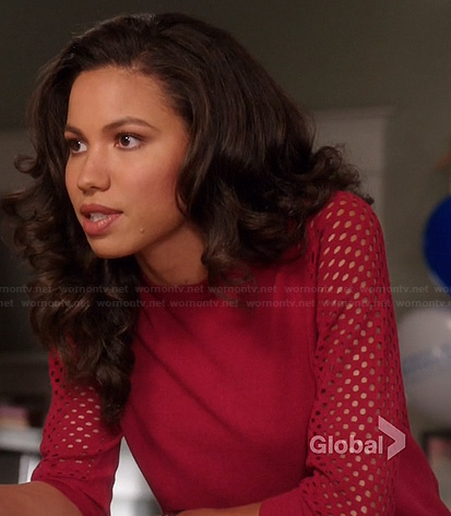 Heather's red mesh sleeve sweater on Parenthood