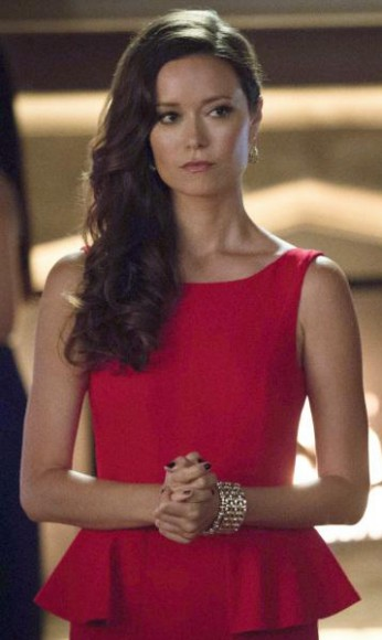 Summer Glau's red peplum gown on Arrow