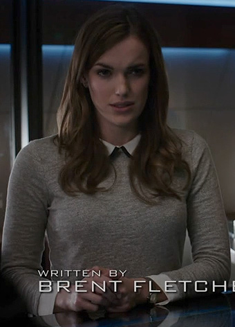 Jemma's grey tipped collar top on Agents of SHIELD