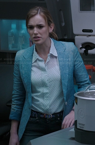 Jemma's white pin dot shirt and chambray blazer on Agents of SHIELD