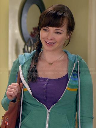 Sadie's blue top with beaded collar on Awkward