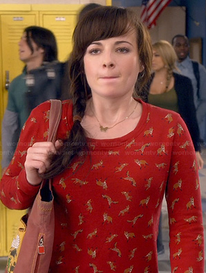 Jenna's red fox print sweater on Awkward
